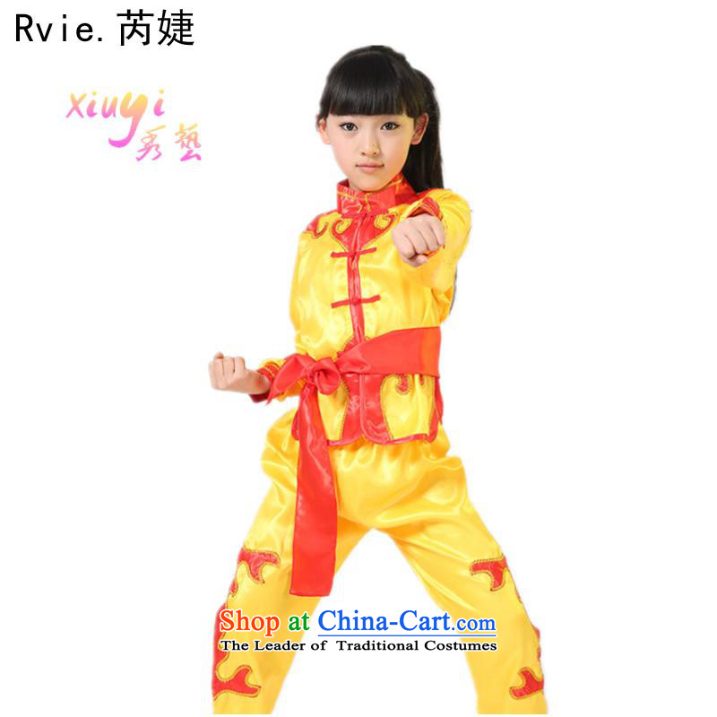 61. Children costumes team exercise clothing kit boys will martial arts performance services service Tang red kung fu聽140cm