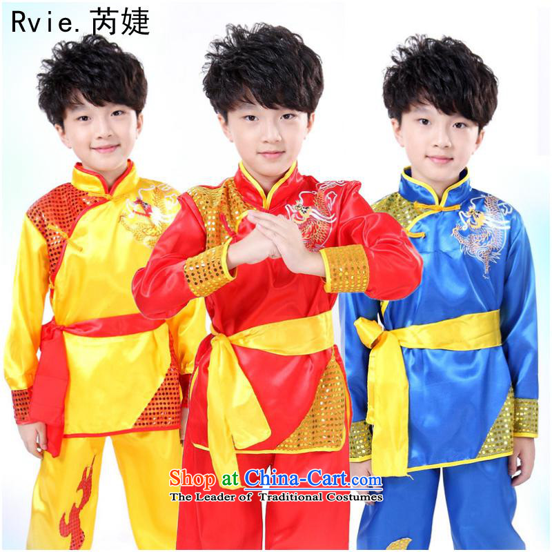 Martial arts services children national costumes martial arts costume services martial arts clothing will Children Folk Dance Sleeveless Red聽150cm