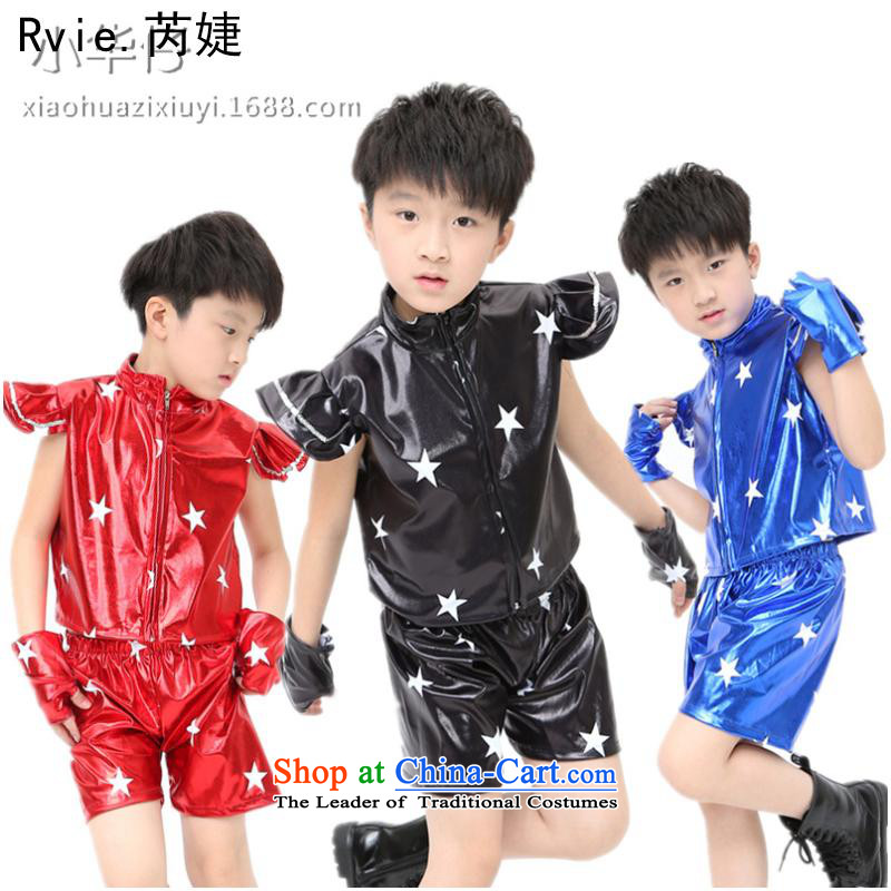 61 The children of modern Jazz Dance Dance Performances services street boys and girls to five-star paint holster dance wearing red110cm,