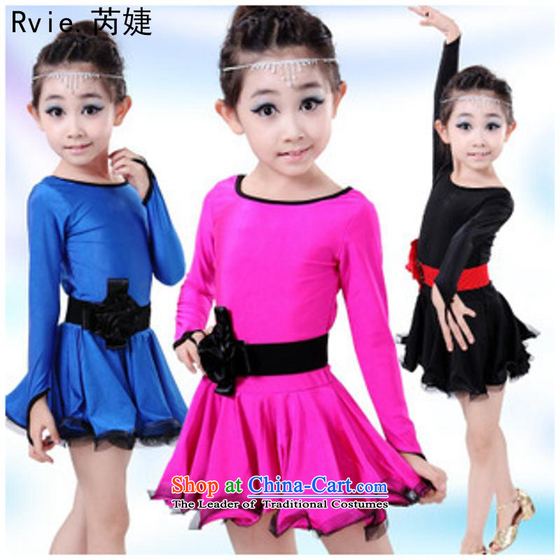 The new Child Latin services clothing girls will stage performances service long-sleeved dresses exercise clothing Dark Blue 140cm