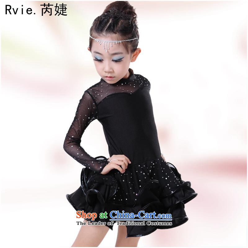 The autumn and winter children Latin dance wearing girls Latin dance skirt long-sleeved Shao Er dresses dance exercise clothing will black160cm