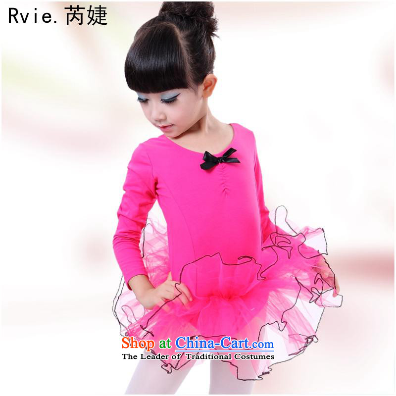 The autumn 2015 new children ballet skirt children dance exercise clothing girls long-sleeved swan dancers of dress Red 5.30