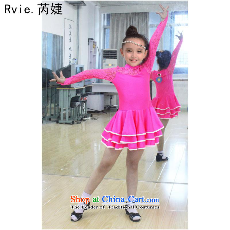 The new Child Latin dance skirt Shao Er Latin dance wearing girls lace Latin exercise clothing in the womans body last friday red