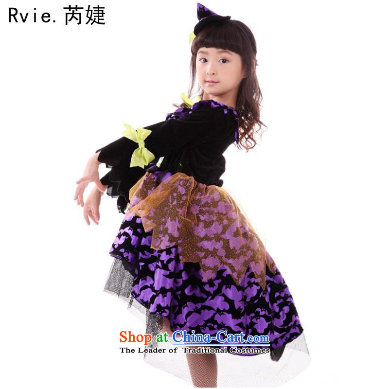 Halloween costumes and witch children skirt witch service kit for boys and girls geek cosplay small witch purple witch purple witch L140-155