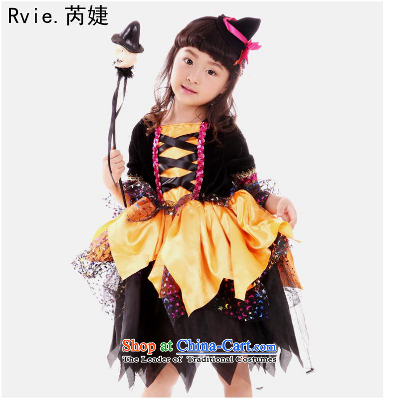 Halloween costumes and witch children skirt witch service kit for boys and girls geek cosplay small witch orange witch orange witch S110-125