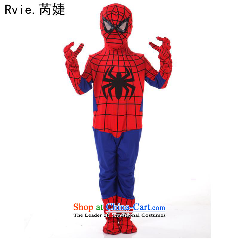 Halloween spider cosplay costumes of tight clothing child adult-hero show package spider children -140cm Spider