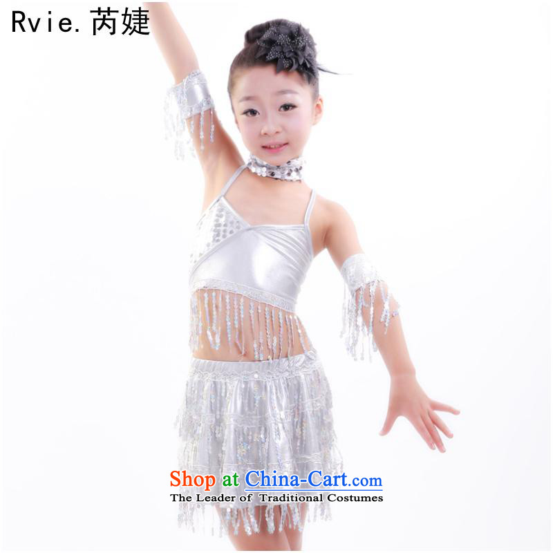 Few children split off-chip Latin dance skirt midriffs kit 61 stage festive dances clothing female silver?130cm
