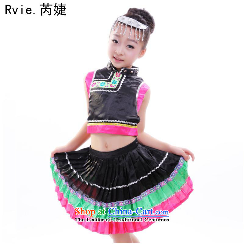 Children will girls Tujia Miao ethnic Zhuang Yi dance wearing black uniforms dance groups 61?130cm