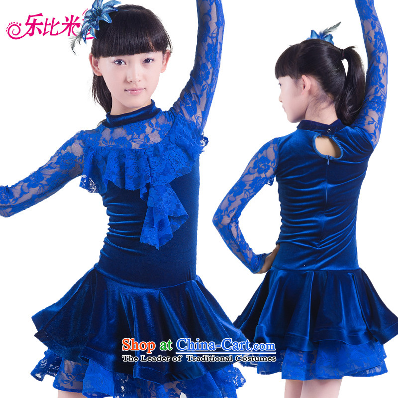 America than M Leung Children Dance services fall and winter girls long-sleeved lace serving Latin Shao Er Latin Dance Dance Performances exercise clothing services services Blue 160