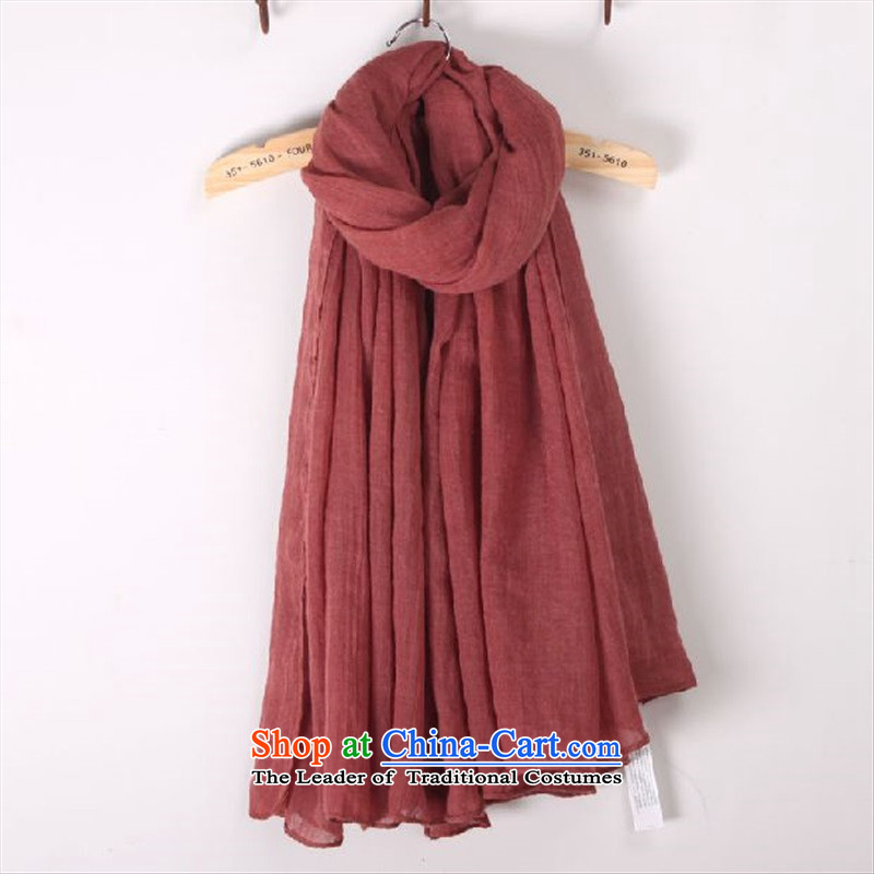 Cotton linen scarf female Korean autumn of autumn and winter pure color arts long-haired4313linen beach rusty red silk scarf