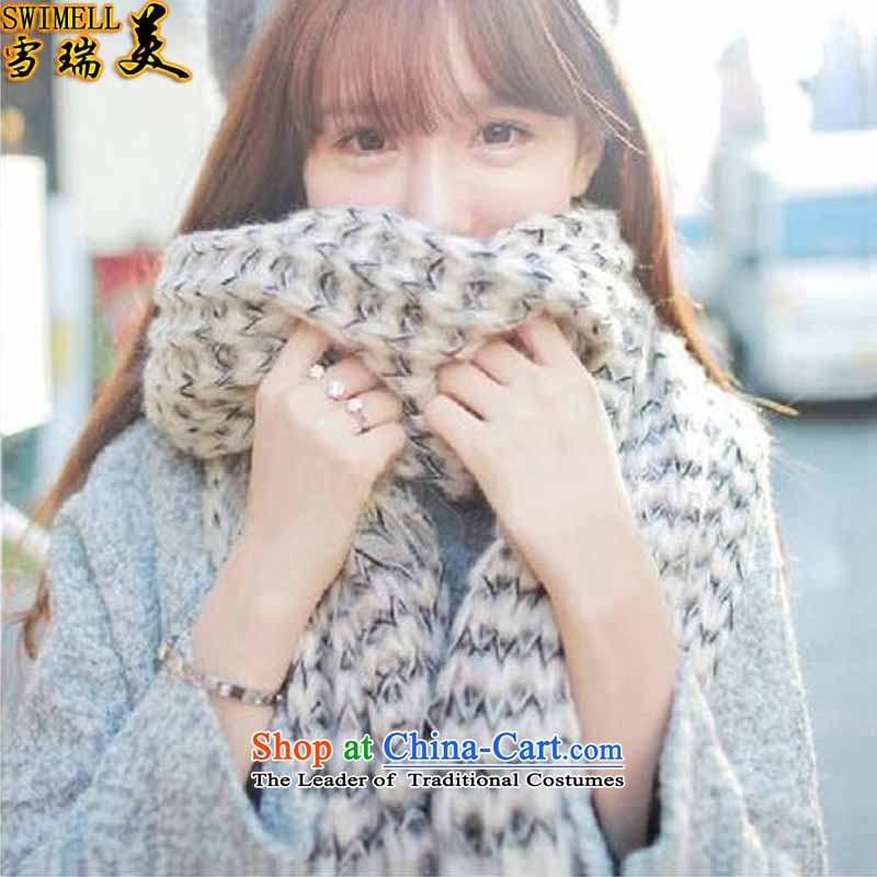 The snow-shui2015 Mohair scarf female long thick Korean version of autumn and winter new couples a knitting, knitting with two shawls1892m White are code