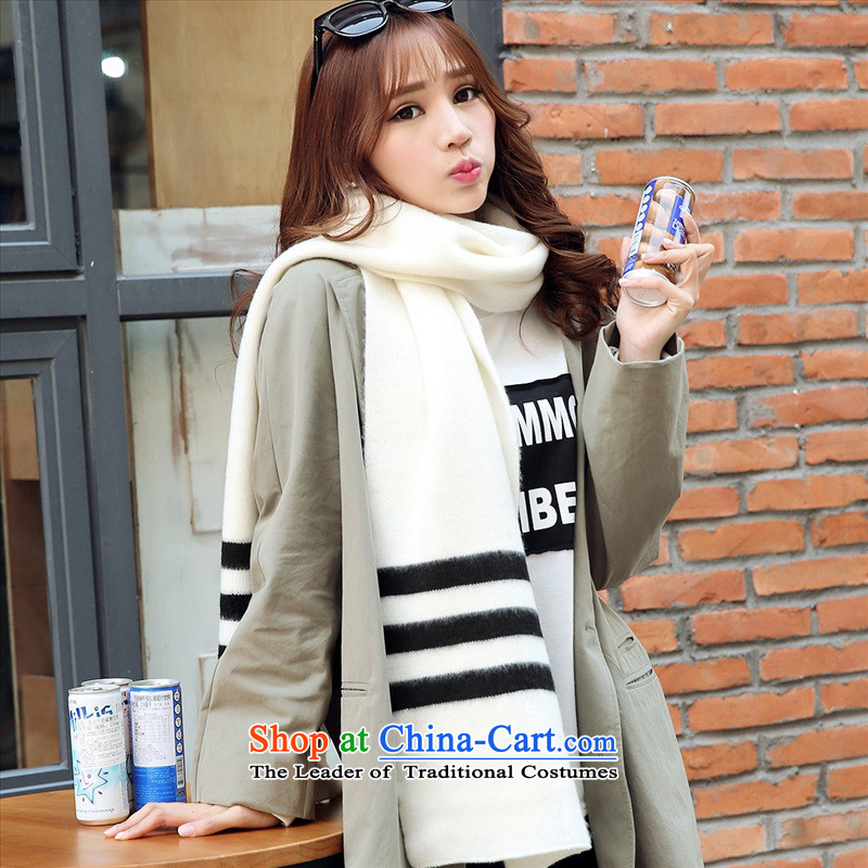 The Korean couples winter pure color line scarf knit scurf thickening of autumn and winter Korean long a male students White