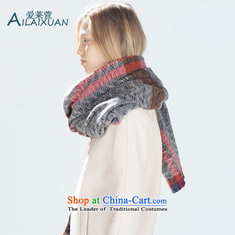 Love, Europe and the autumn and winter 2015 Xuan new women's sea blue scarf jacquard winter women with two shawls warm color photo of thick