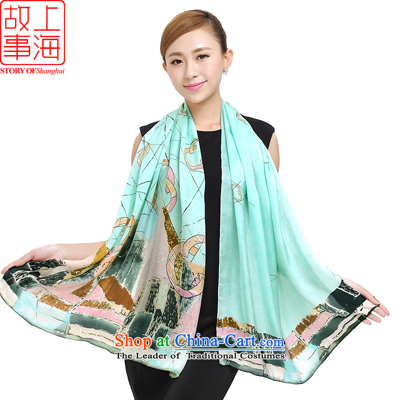 Shanghai Story new silk scarves ink stamp, herbs extract wind long scarf autumn and winter shawl female 177045 Blue