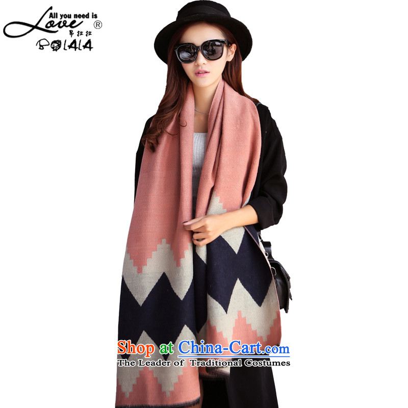 8Pull the spring and autumn of 2015 Korea scarf diamond grid with two shawls thick a long autumn and winter, Knitting scarves large large student diamond pink are code