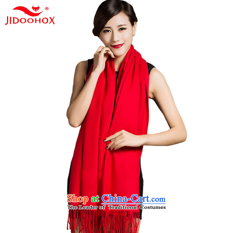 The end of the scarf female autumn and winter JIDOOHOX pure color wild Ms. shawl long wool handkerchief also two Red Shawl