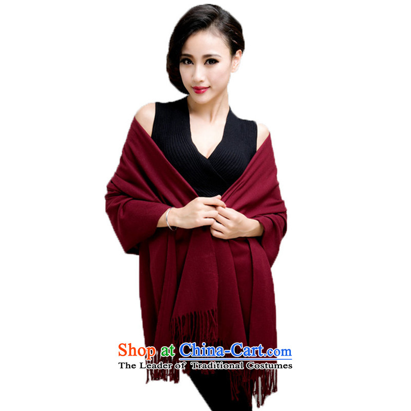 Autumn and Winter New Pure Color polester velvet shawl, plus long thick, a shawl scarves with solid color of the two also Fancy Scarf su0301200_60CM wine red