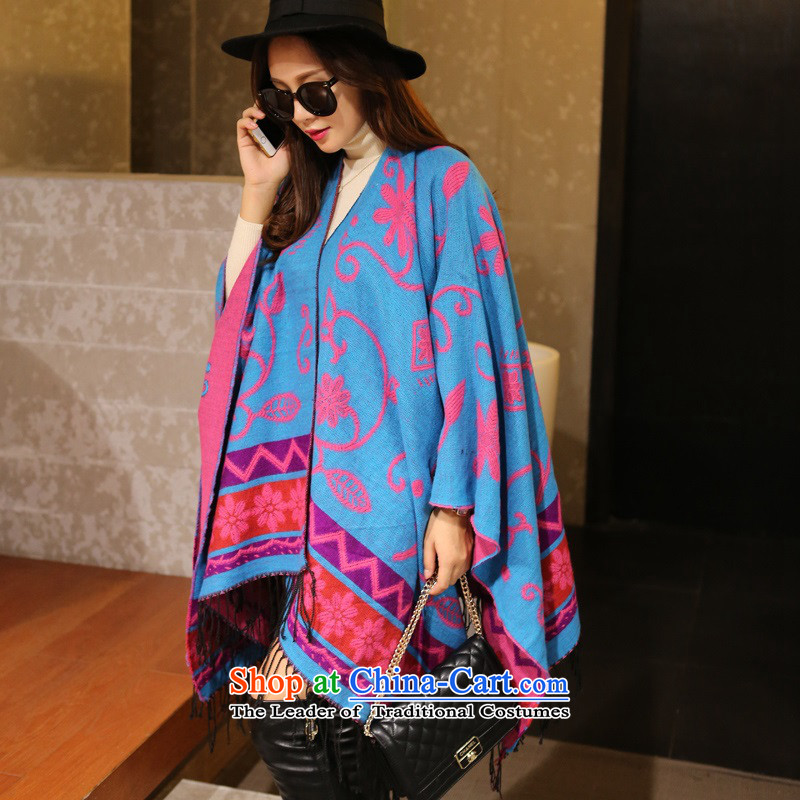 The end of the scarf female ethnic winter spring and autumn cashmere shawls large scarf4313Lijiang wool double-sided mantle Thick Long Chang Yu Yee-Sky Blue
