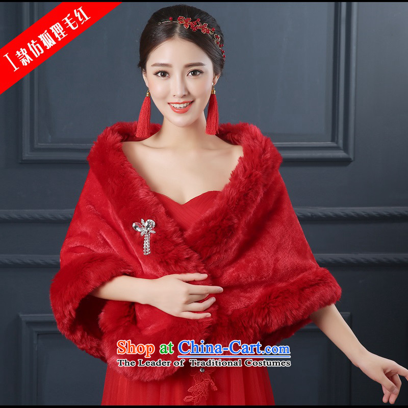 2015 new bride wedding gross shawl winter coats qipao marriage bridesmaid dress shawl thick warm I emulation fox gross red