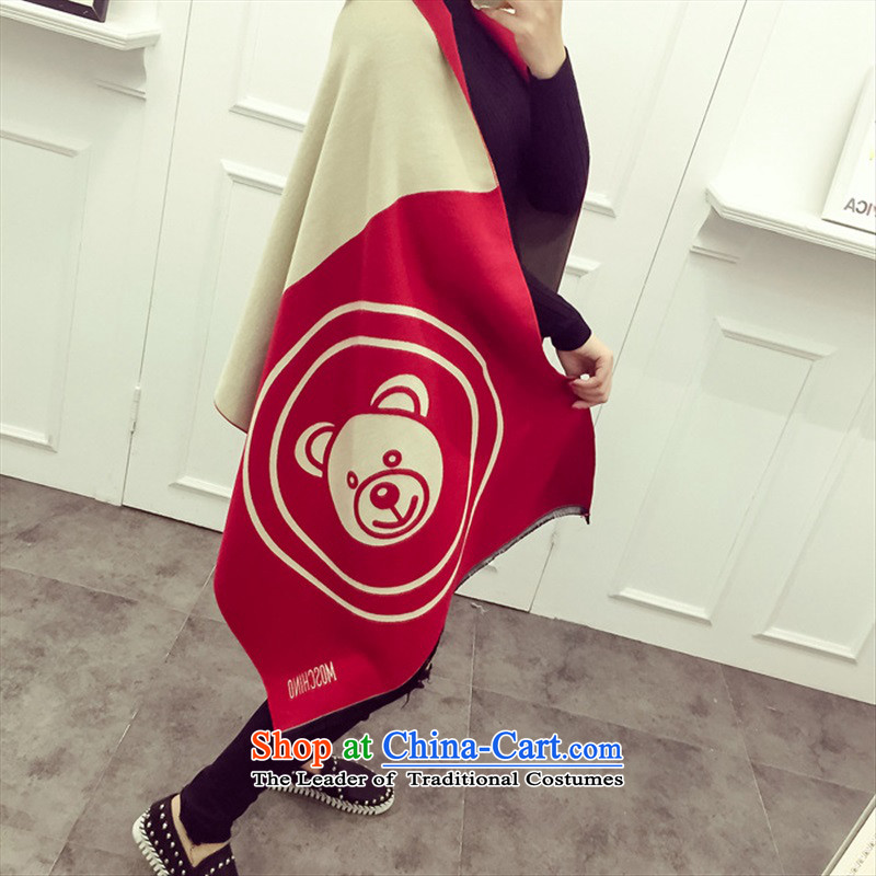 New Korea big latticed Ms. warm pashmina shawl two spring and autumn with extra-long thick winter new product giant wine red
