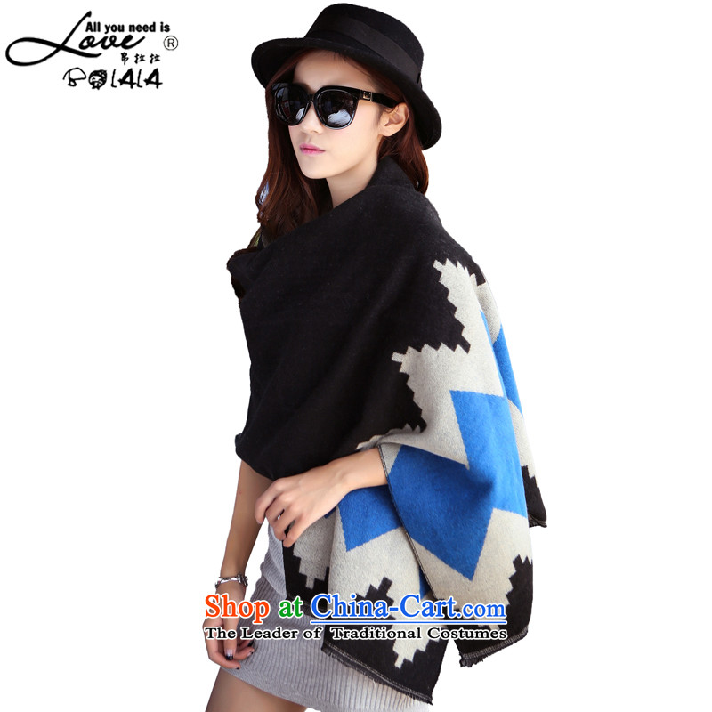 8Pull the spring and autumn of 2015 Korea scarf diamond grid with two shawls thick a long autumn and winter, Knitting scarves large large student Black Diamond blue are code