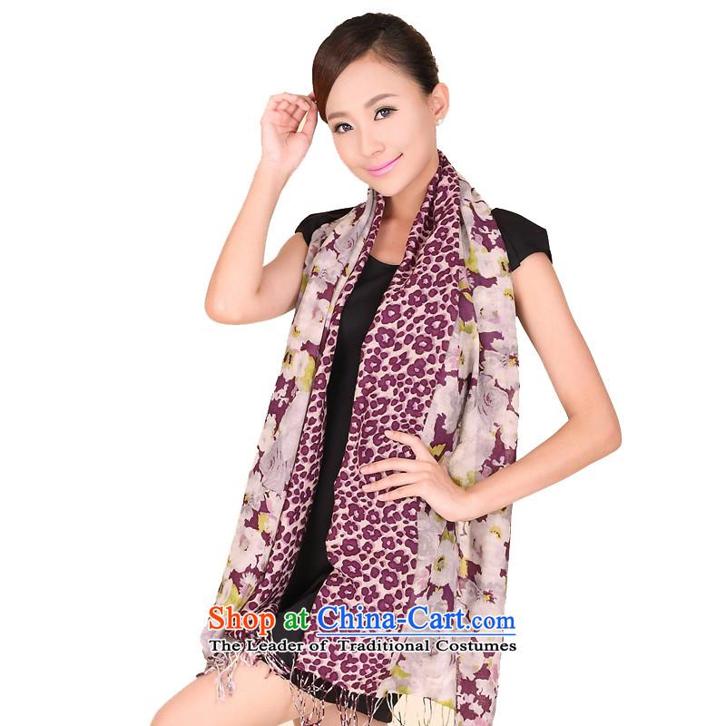 Beijing story autumn and winter new Leopard flower wooler scarf women wild woolen shawl 194054 Purple