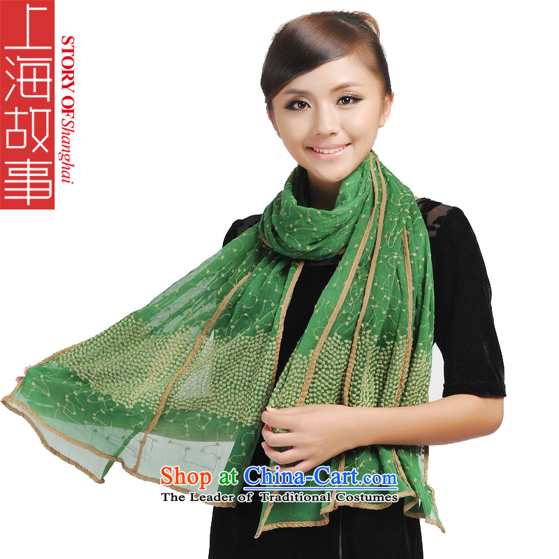 Shanghai Story stylish extralong silk scarves sunscreen long beach towel minimalist tsutsu 166076 green