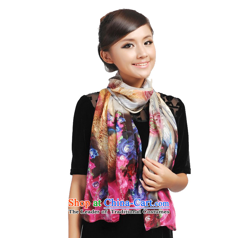 Shanghai Story painted purple mists rose Striped satin silk scarfs Ms. Winter) herbs extract scarf 166062 in red