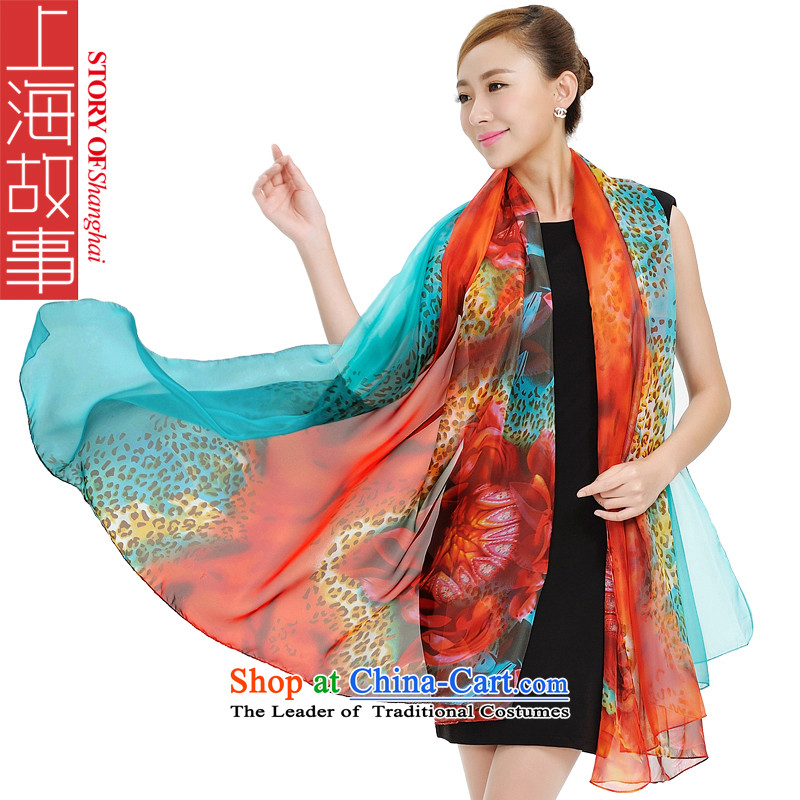 Shanghai Story autumn and winter new colorful Snow Leopard ultra-stylish scarves woven women cape scarf 159019 Blue orange