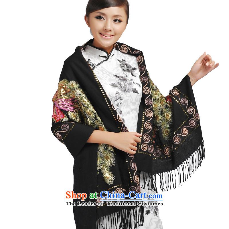 Beijing story gold wire peacock woolen shawl, winter, scarf聽184064聽Black