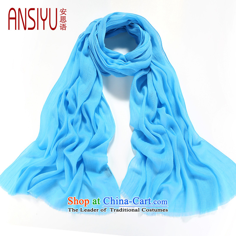 Think of Arabic autumn and winter pure cotton scarves, cotton linen long shawl dual-use gradients silk scarf M0001 BlueM4
