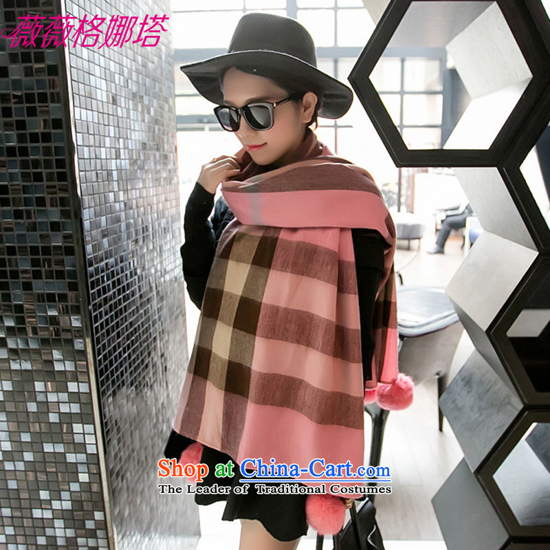 Weiwei Grid Natasha autumn and winter New England wind spell color grid rabbit hair ball thick warm scarves with two shawls AA1568180_70cm color picture