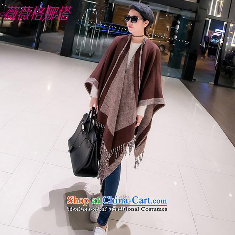 Weiwei Grid Natasha autumn and winter new European and American spelling color flow su scarf warm and stylish with two shawls AA1569 180_130cm brown
