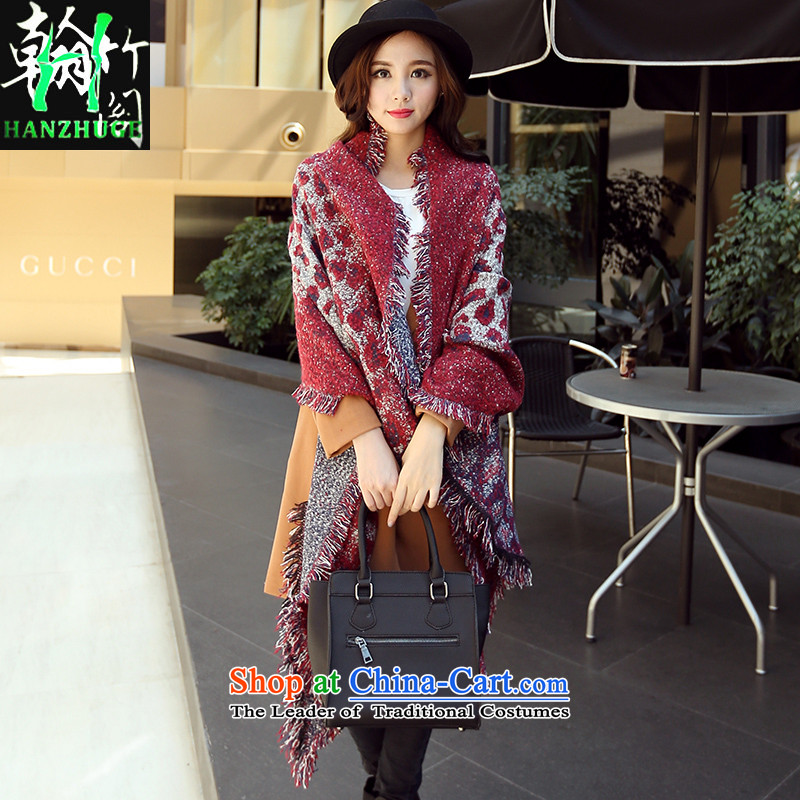 2015 Autumn and winter new Korean Leopard edging thick with two Sleek and versatile female scarves emulation cashmere shawls long JIMI wine red leopard are code