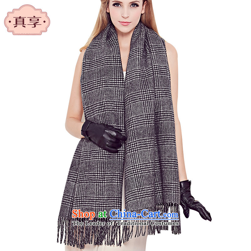 Really enjoy English chidori grid woolen shawl autumn and winter, warm Thick Long latticed great muffler with two W173 black
