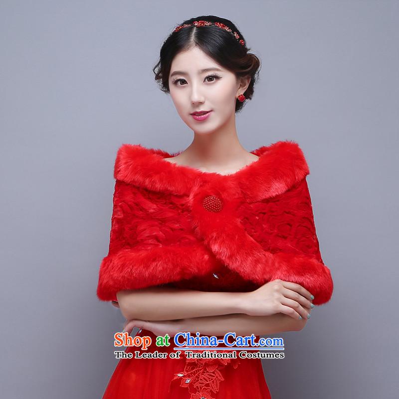 2015 new bride wedding gross shawl winter coats qipao marriage bridesmaid dress shawl thick warm聽B
