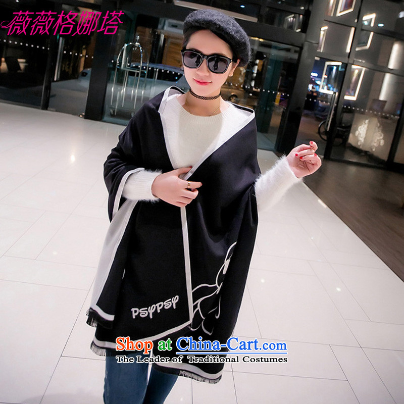 For autumn and winter clothing Windsor new ultra retro preppy gloomy pattern scarf students with two couples AA1572 shawl190*65cm Black and White