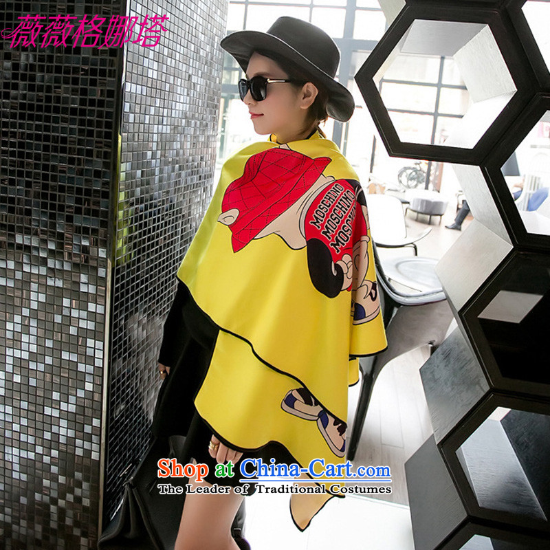 Weiwei Grid Natasha autumn and winter new Western wind-down gross stylish Ms. digital cartoon stamp emulation cashmere warm with scarves AA1575185_65cm yellow