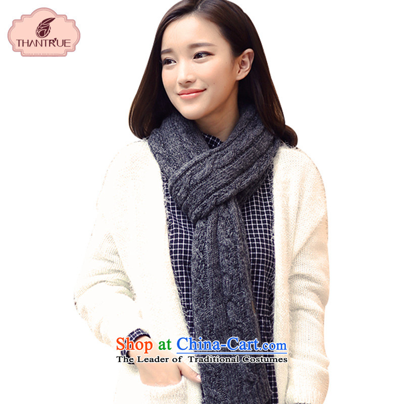 Enjoy a Korean version of true thantrue couples scarf autumn and winter long knitting, knitting a warm color puzzle Ms. W164 folder flower Dark Gray