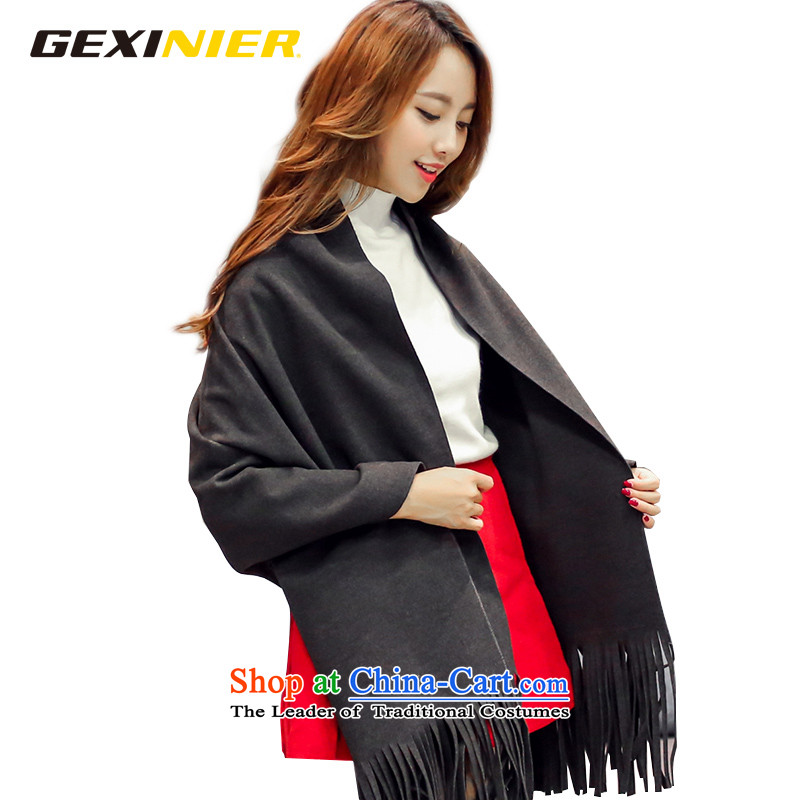 Song Shinille large scarf of autumn and winter europe elegant edging Solid Color Korean male and a shawl two with dark gray