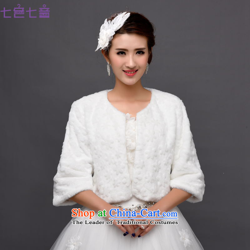 7 7 color tone聽2015 autumn and winter coats shawl bride Gross Gross shawl wedding dresses bridesmaid services jacket coat jacket聽PJ1504聽White