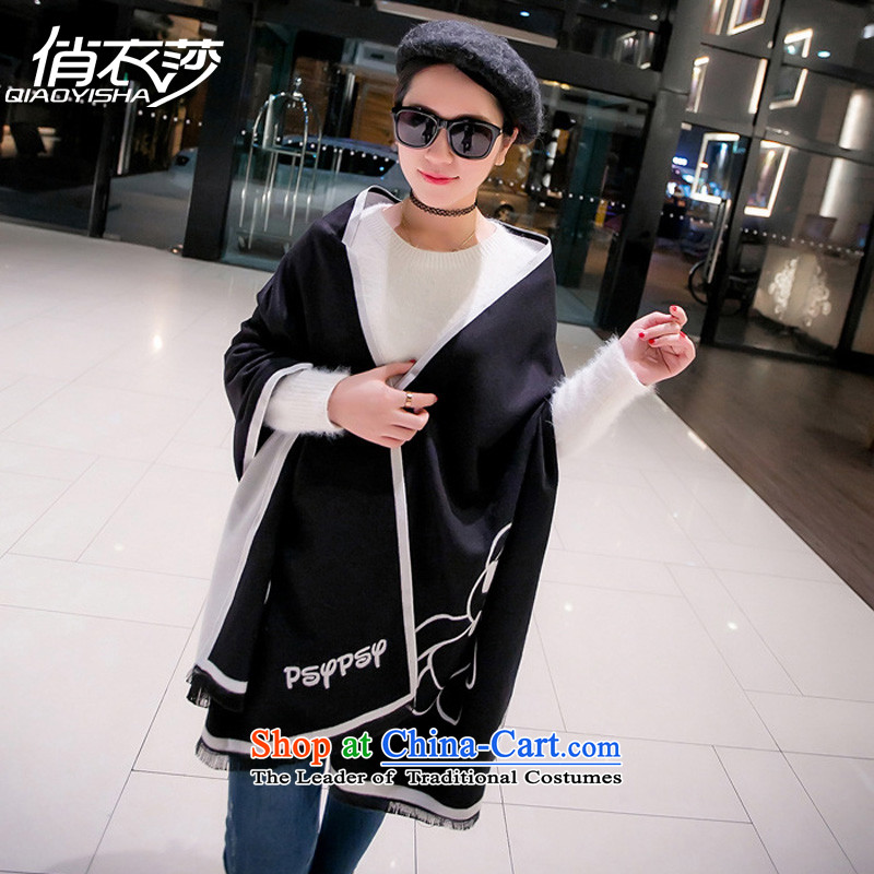 To Elizabeth Korean Yi autumn and winter new violence Xiong pattern simulation Ms. pashmina thick warm longer two shawls QA1572 with black and white