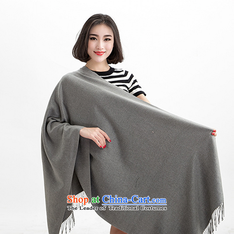 Yi terrace shin knitting, knitting scarves winter thick solid color scarves stylish girl, autumn and winter leisure wild Gray