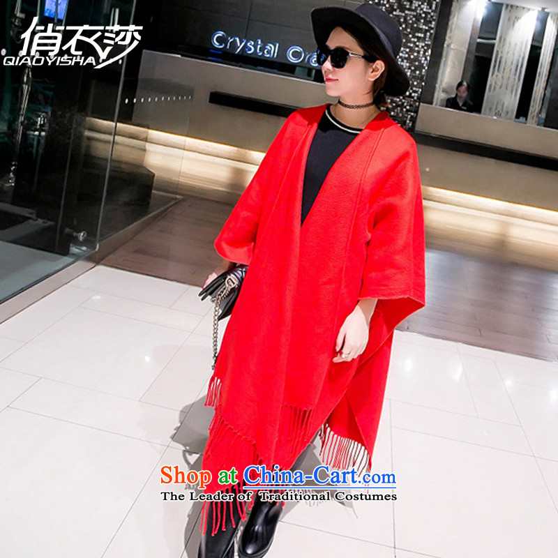 For autumn and winter clothing Windsor New Pure color emulation cashmere female large Red Shawl edging thick warm with Mantle QA1570 two red