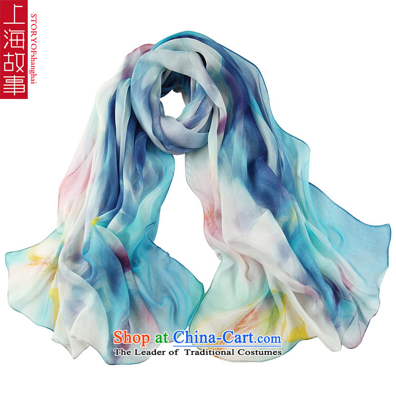 Shanghai Story stamp silk scarves girls increased size herbs extract scarf 18# Nixihe