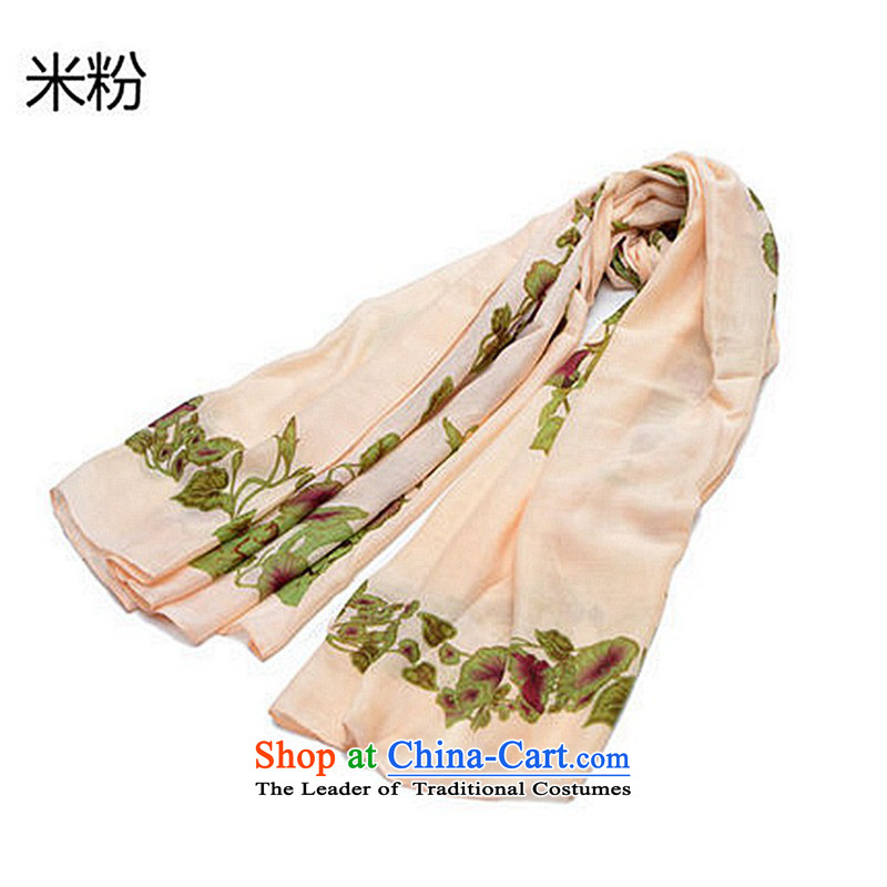 2015 Autumn and winter ginasy new convolvulus flower stamp shawl scarves with two summer sun yi beach towel silk scarf female beige