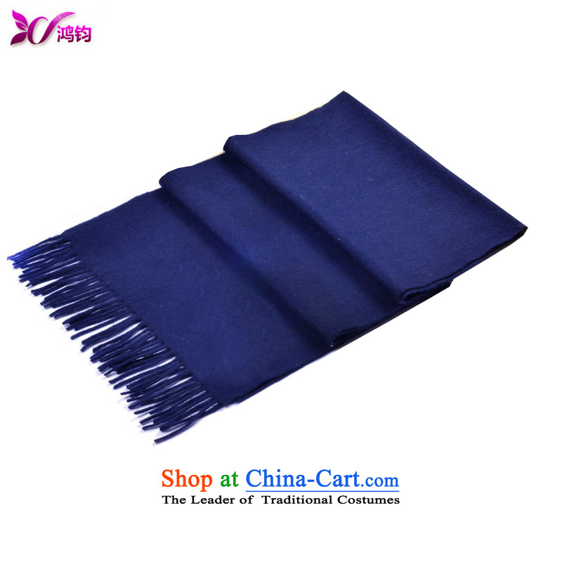 Che-kwan pure Cashmere scarf women latticed autumn and winter Western Street concept large shawl unisex warm couples with two shawls and scarves Navy