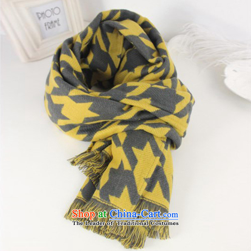 The United States and the new version 2015 Carne stylish Western cashmere edging chidori, scarves and large shawl a female yellow chidori Grid