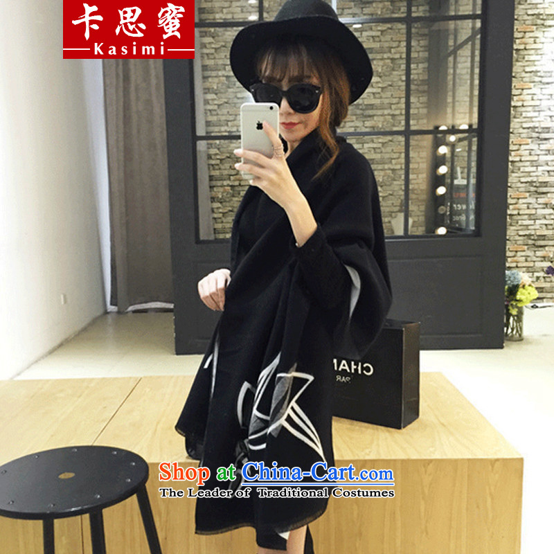 Karth honey 2015 autumn and winter new women's national winds shawl long scarf two fake Cashmere wool double-sided mantle thick long black 65cm wide x195cm long