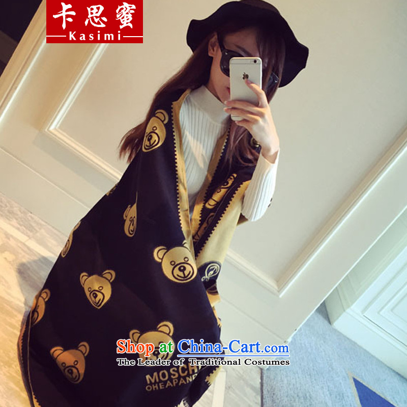 Karth honey 2015 autumn and winter new stylish Ms. kumato pattern pull warm stamp long hair_ Emulation pashmina shawl air-conditioned room is a large yellow 60cm wide x100cm long